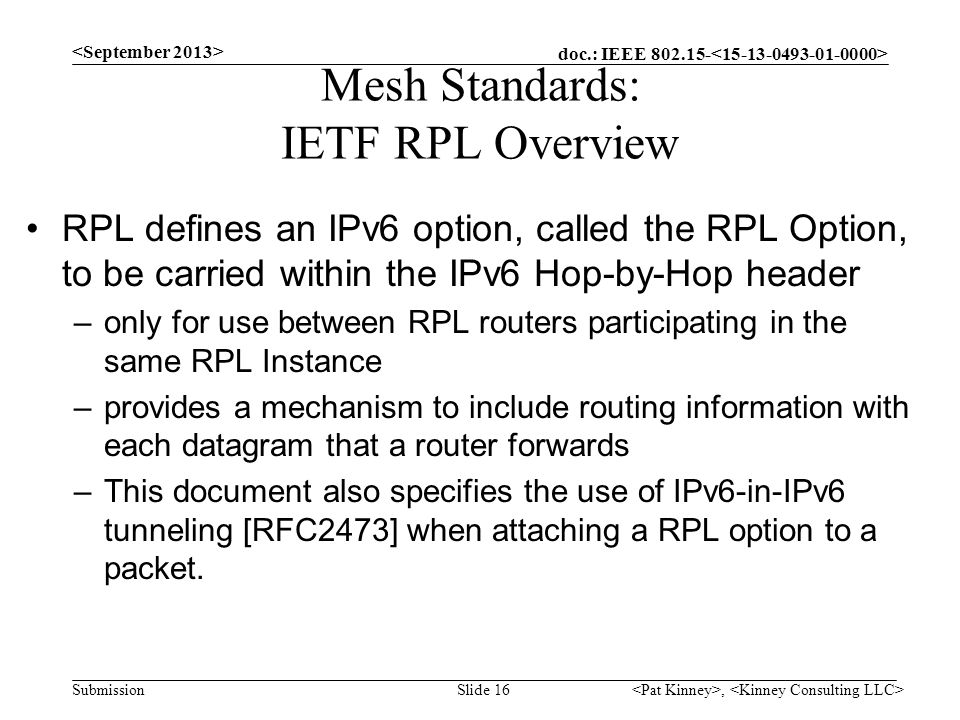Mesh Standards: IETF RPL Overview