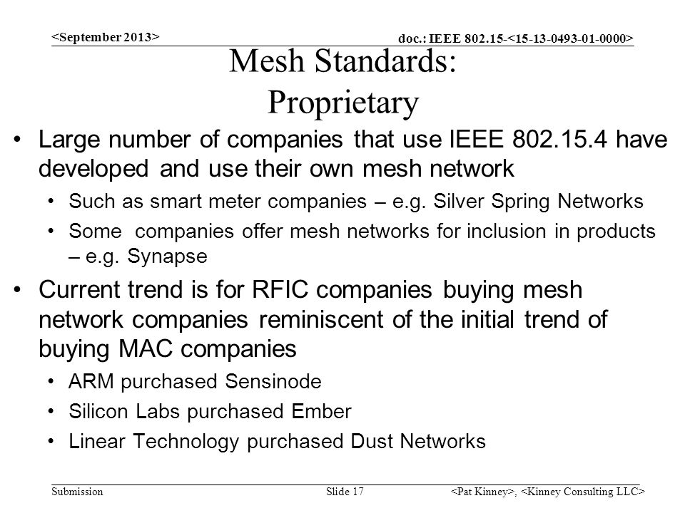 Mesh Standards: Proprietary