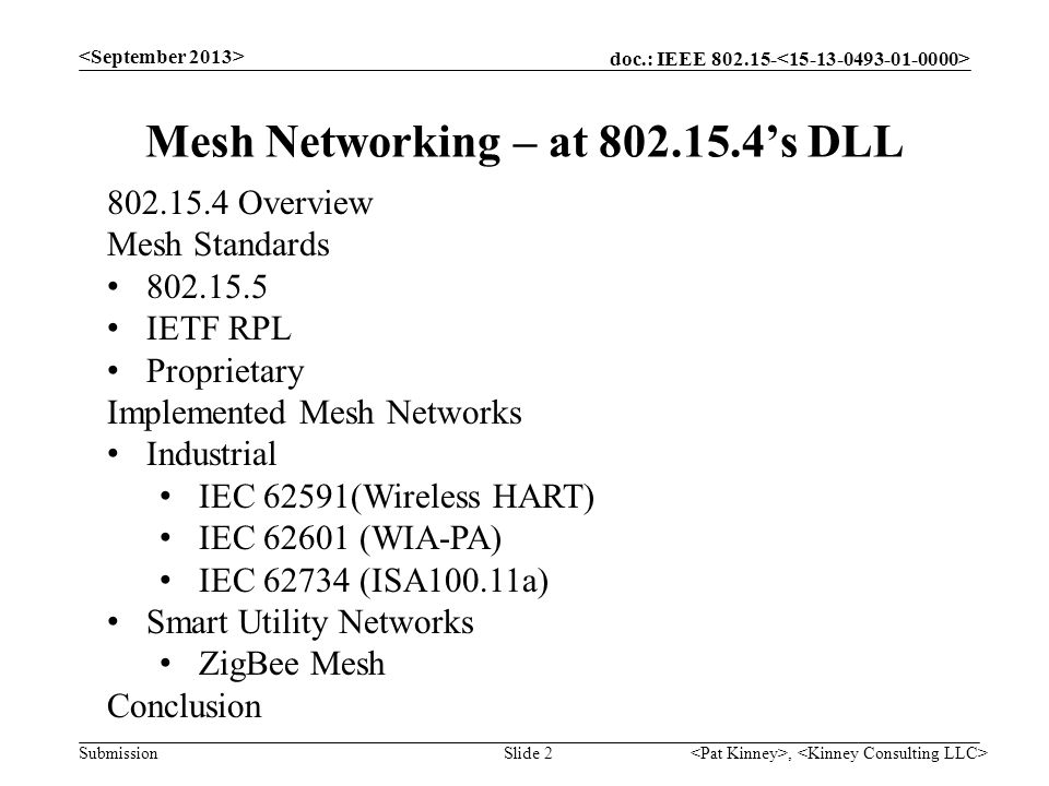 Mesh Networking – at 802.15.4's DLL