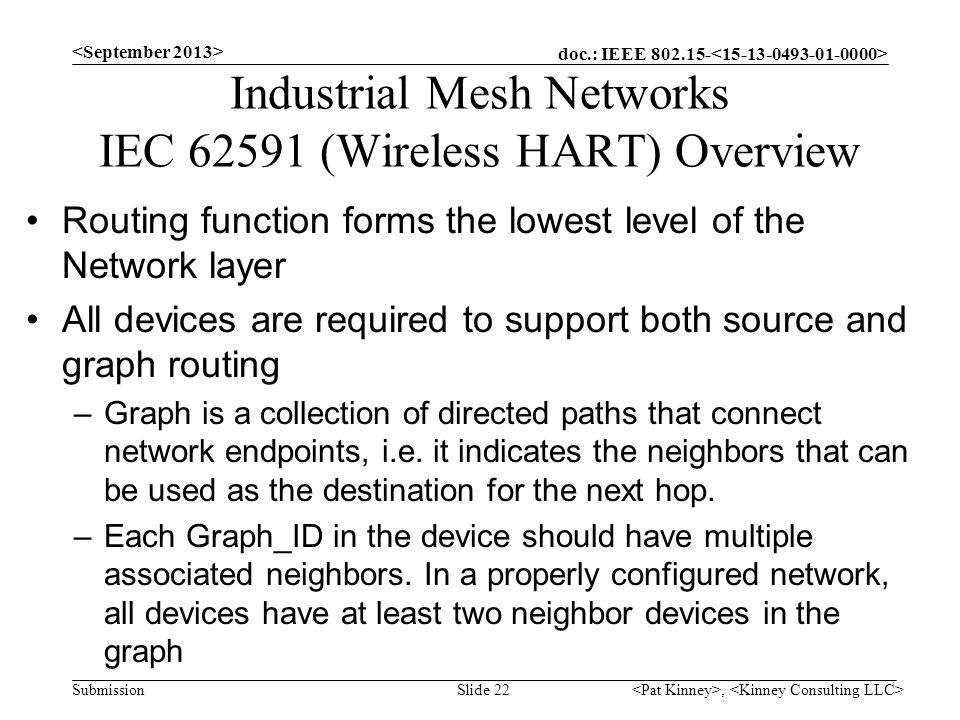 Industrial Mesh Networks IEC (Wireless HART) Overview