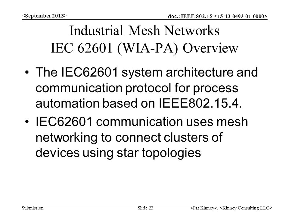 Industrial Mesh Networks IEC 62601 (WIA-PA) Overview