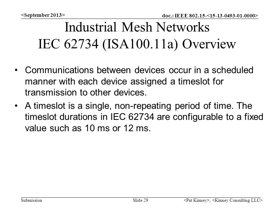 Industrial Mesh Networks IEC (ISA100.11a) Overview