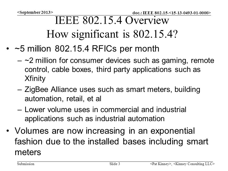 IEEE 802.15.4 Overview How significant is 802.15.4