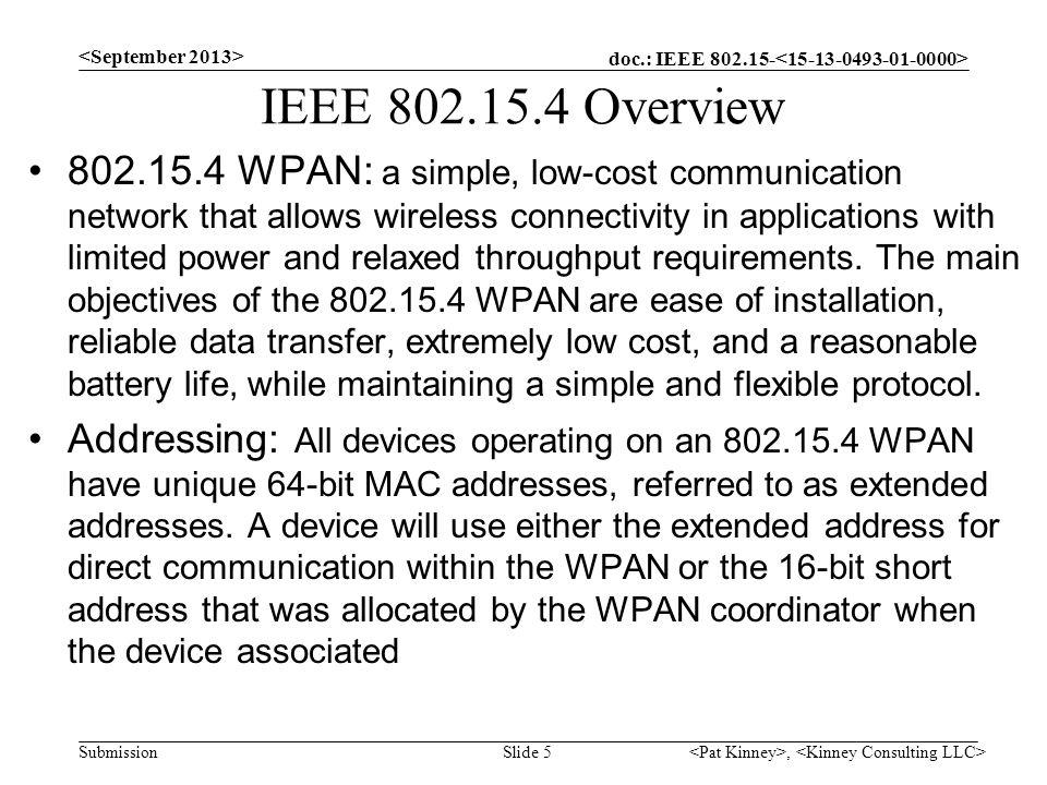 IEEE 802.15.4 Overview <September 2013>