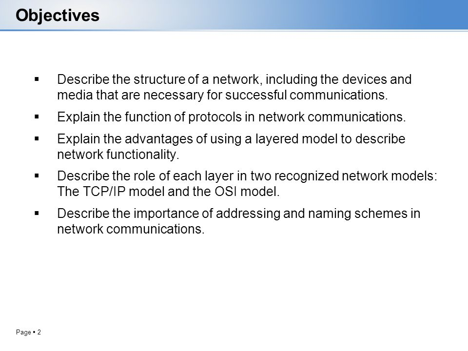 Objectives Describe the structure of a network, including the devices and media that are necessary for successful communications.