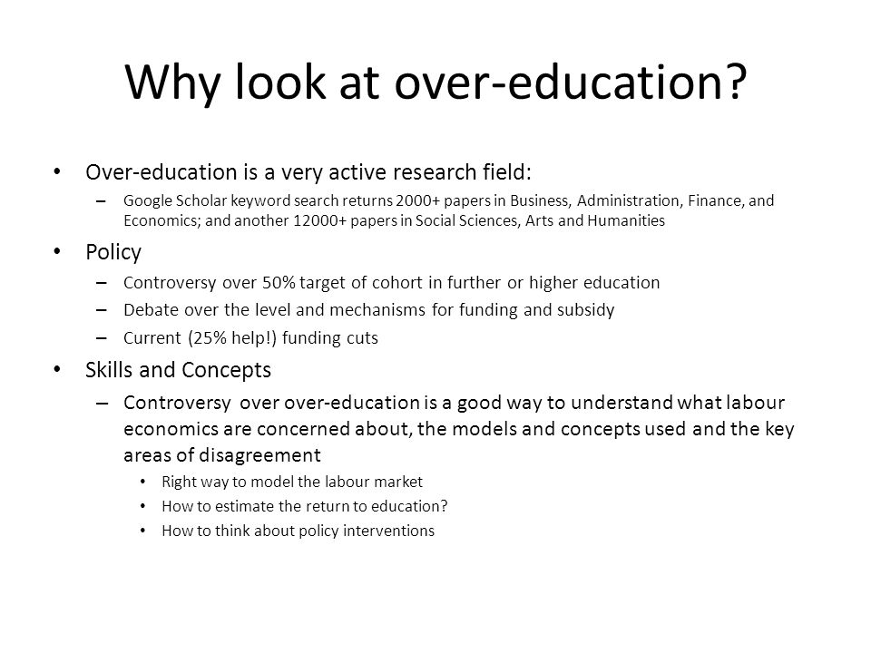 Why look at over-education