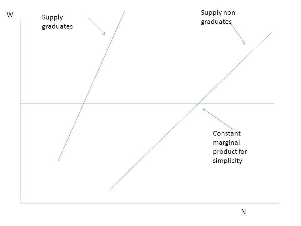 Supply non graduates W Supply graduates Constant marginal product for simplicity N