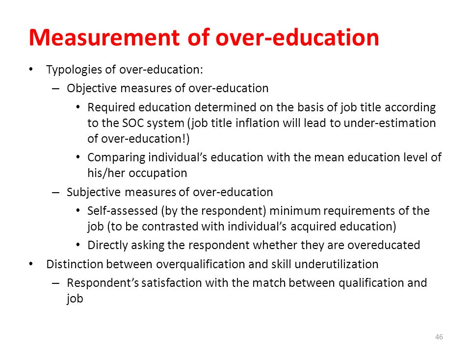 Measurement of over-education