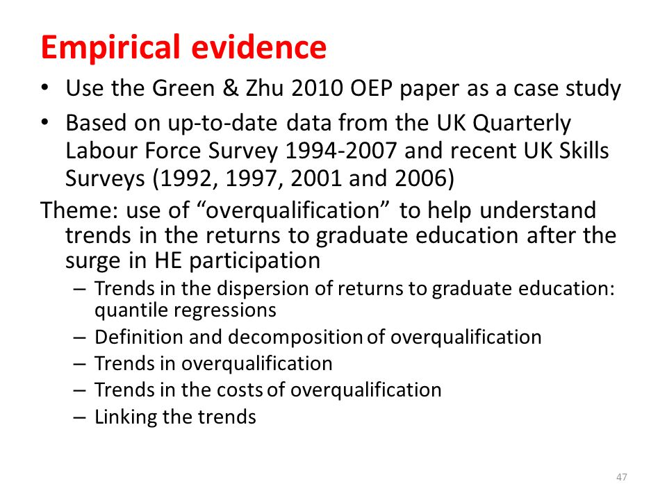 Empirical evidence Use the Green & Zhu 2010 OEP paper as a case study