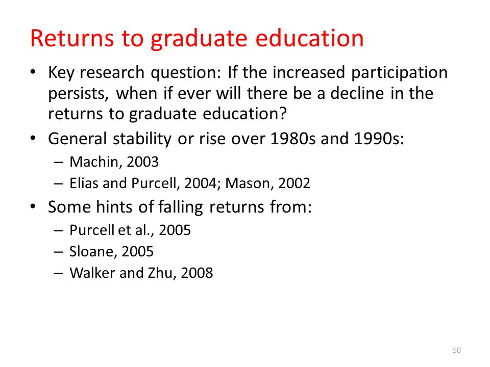 Returns to graduate education