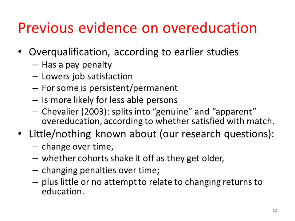 Previous evidence on overeducation