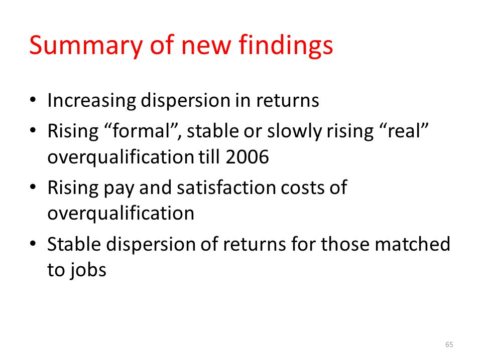 Summary of new findings