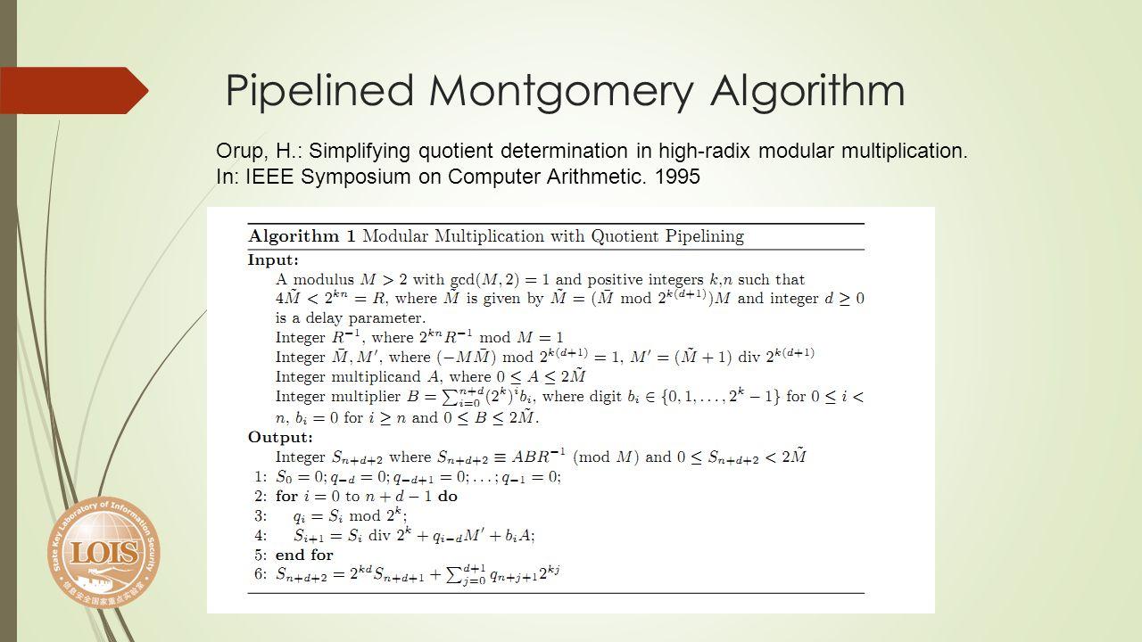 Pipelined Montgomery Algorithm