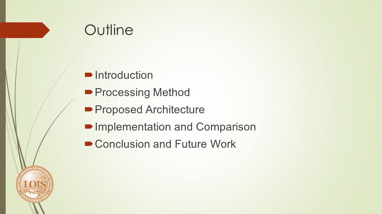 Outline Introduction Processing Method Proposed Architecture