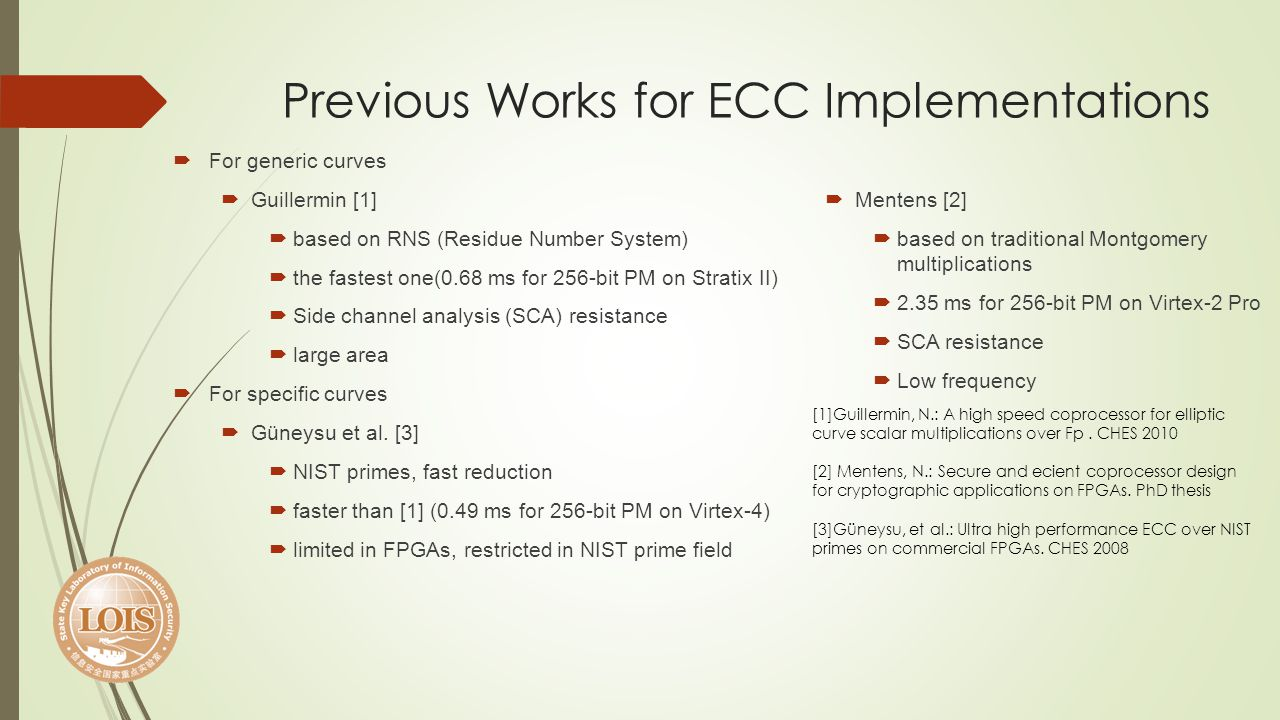 Previous Works for ECC Implementations