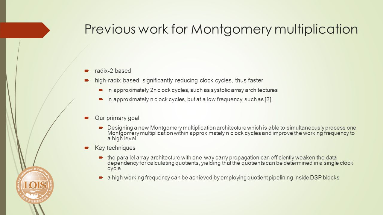 Previous work for Montgomery multiplication