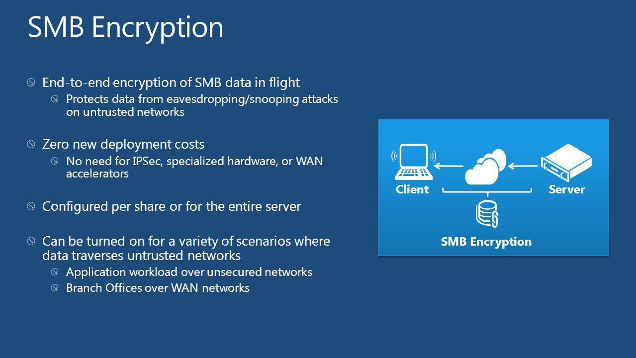 SMB Encryption End-to-end encryption of SMB data in flight