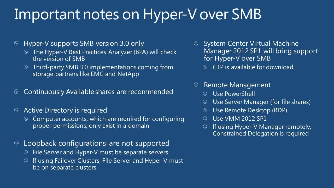 Important notes on Hyper-V over SMB