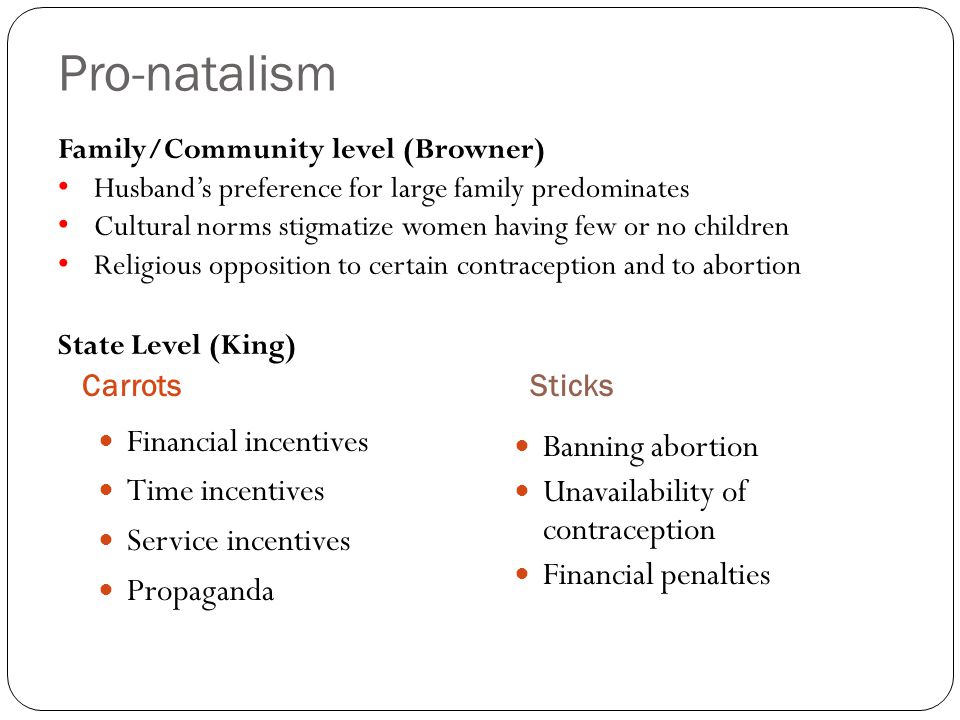 Pro-natalism Financial incentives Banning abortion Time incentives