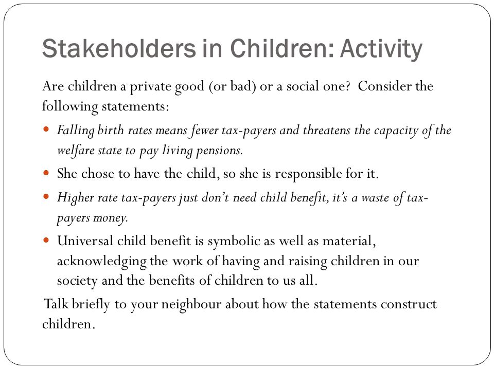 Stakeholders in Children: Activity