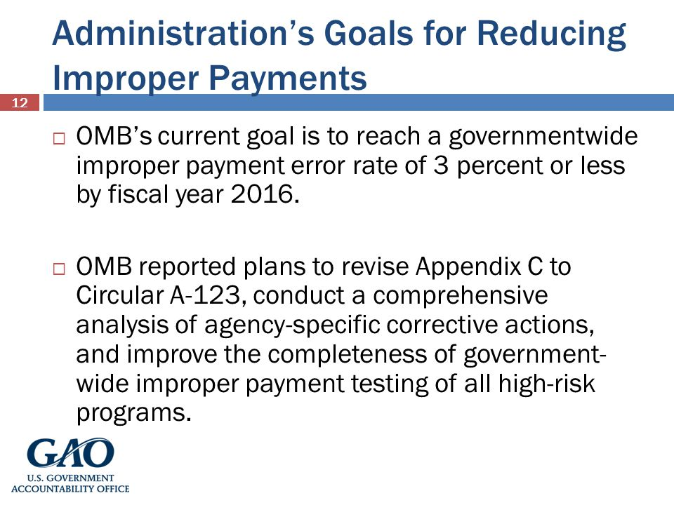 Administration's Goals for Reducing Improper Payments