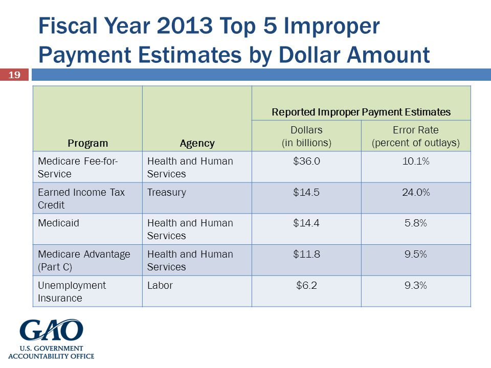Fiscal Year 2013 Top 5 Improper Payment Estimates by Dollar Amount