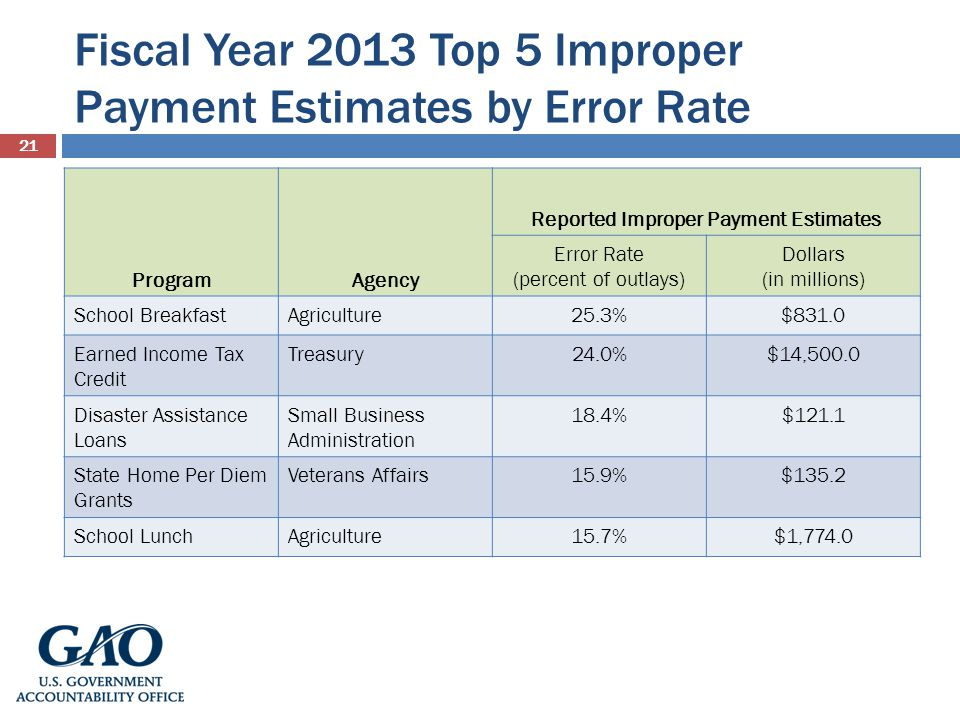 Fiscal Year 2013 Top 5 Improper Payment Estimates by Error Rate