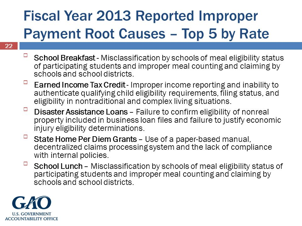 Fiscal Year 2013 Reported Improper Payment Root Causes – Top 5 by Rate