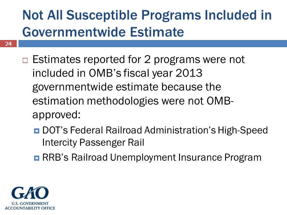 Not All Susceptible Programs Included in Governmentwide Estimate