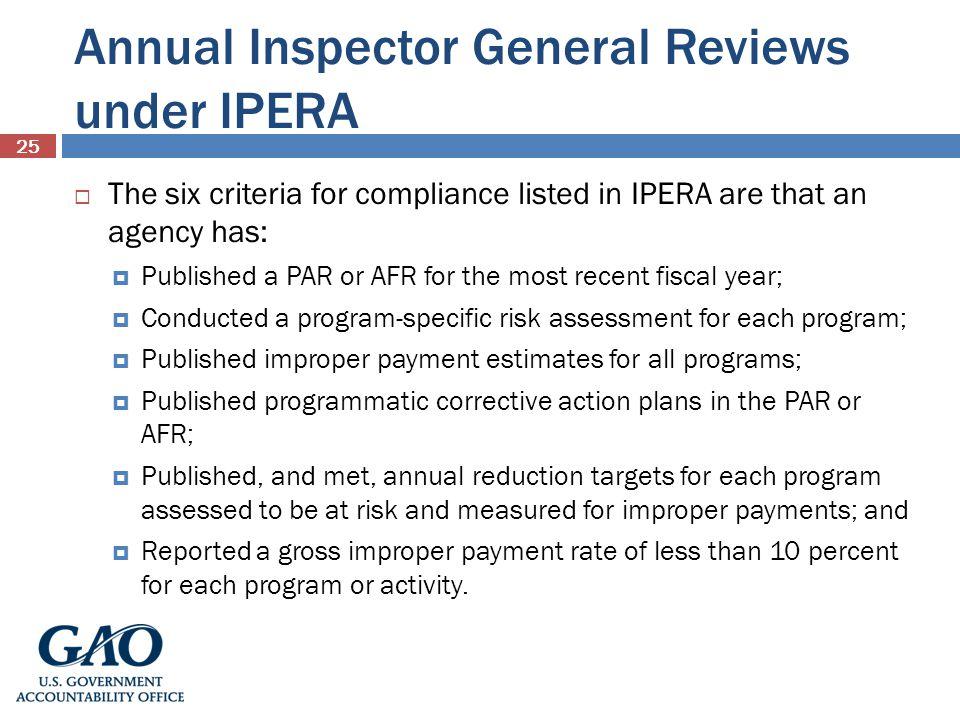 Annual Inspector General Reviews under IPERA