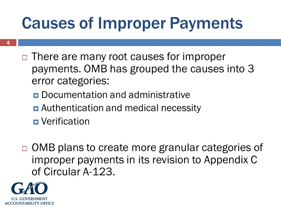 Causes of Improper Payments