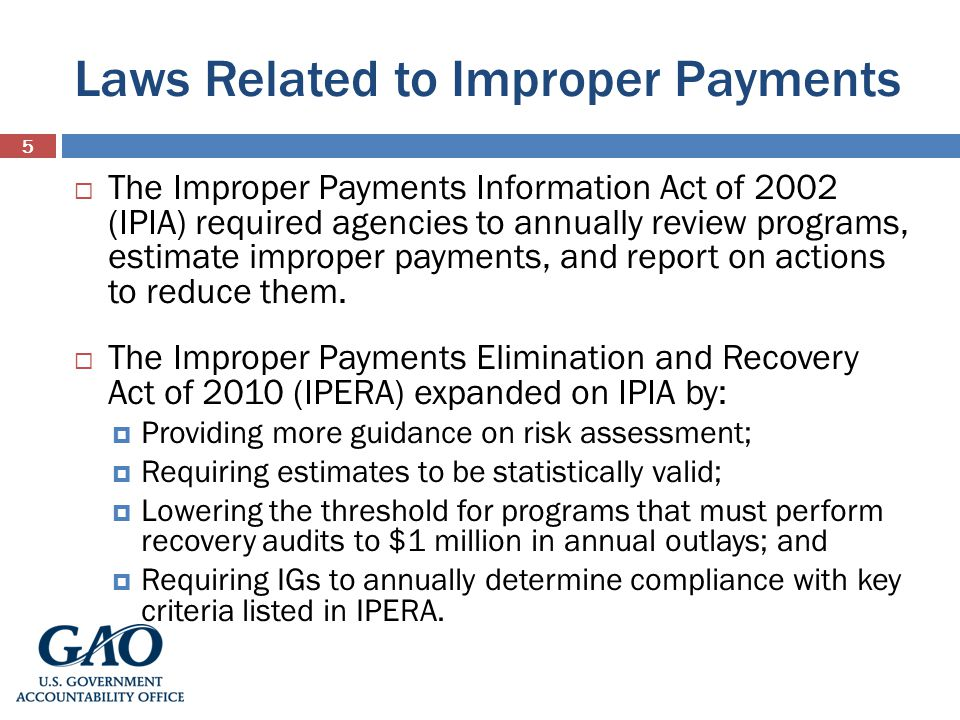 Laws Related to Improper Payments