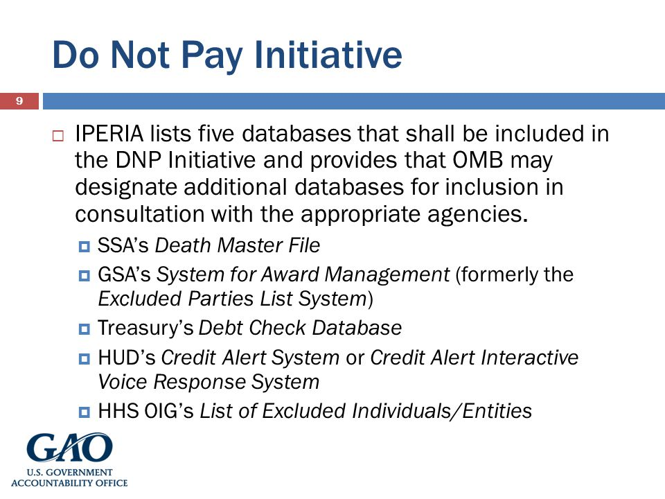 Do Not Pay Initiative