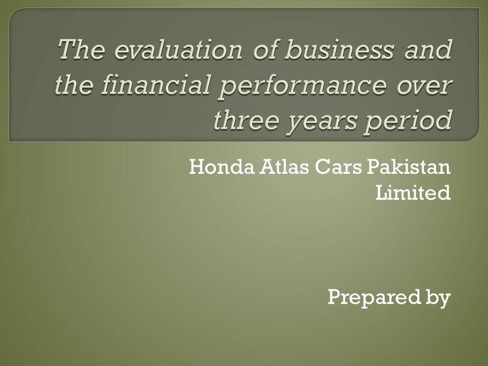 Honda Atlas Cars Pakistan Limited Prepared by