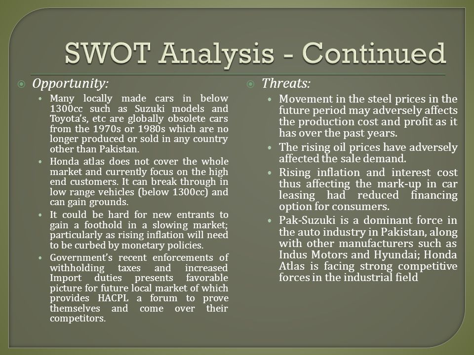 SWOT Analysis - Continued