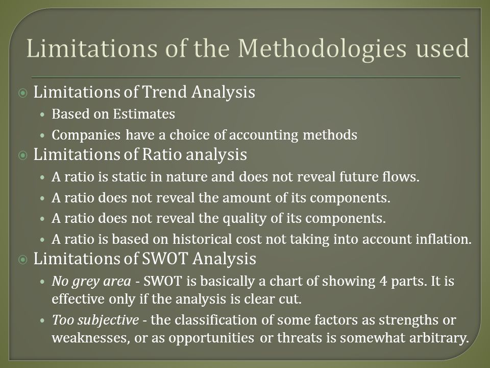 Limitations of the Methodologies used