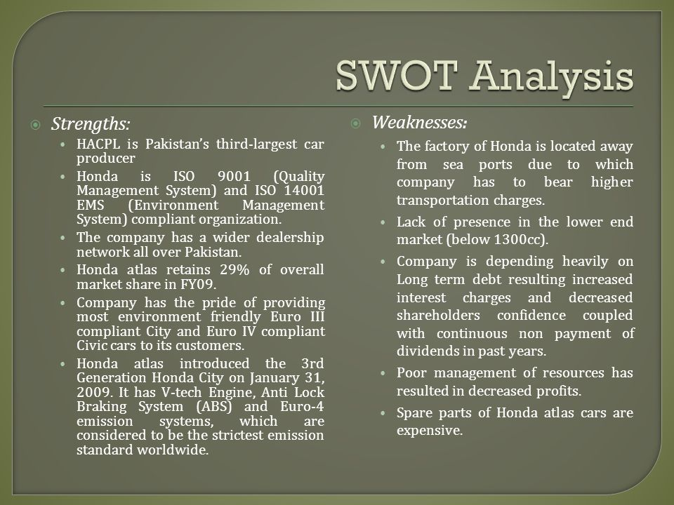 SWOT Analysis Weaknesses: Strengths:
