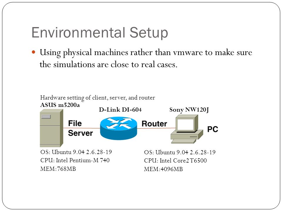 Environmental Setup Using physical machines rather than vmware to make sure the simulations are close to real cases.