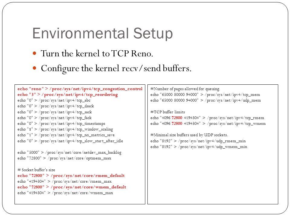 Environmental Setup Turn the kernel to TCP Reno.