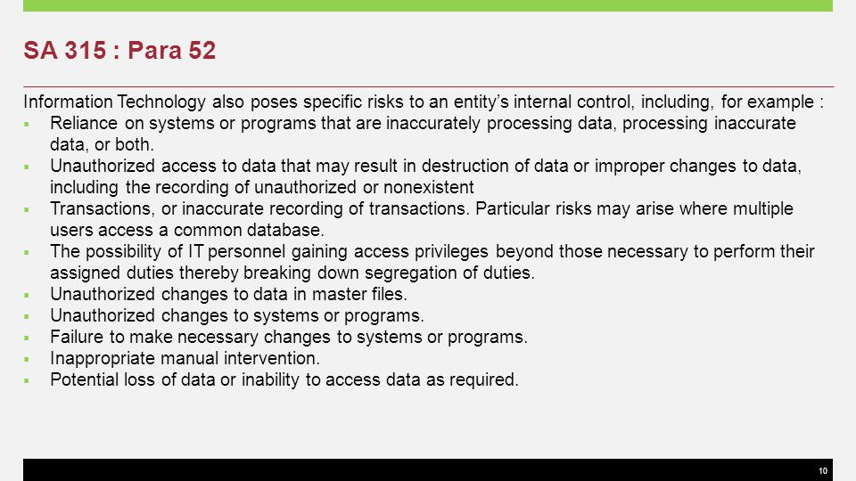 SA 315 : Para 52 Information Technology also poses specific risks to an entity's internal control, including, for example :