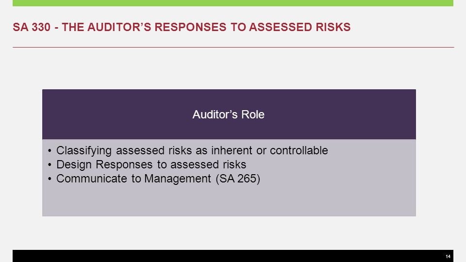 SA 330 - THE AUDITOR'S RESPONSES TO ASSESSED RISKS