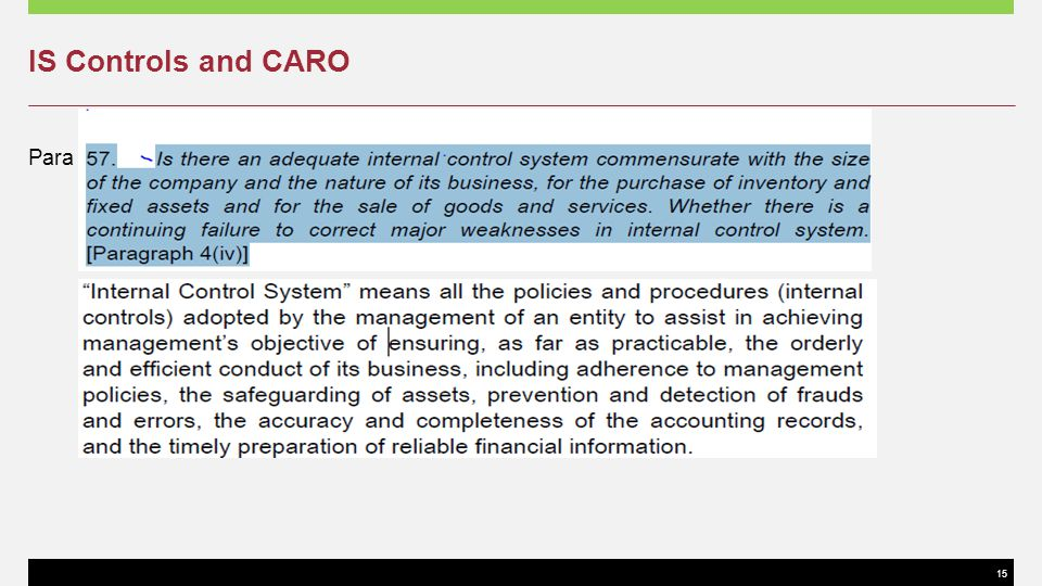 IS Controls and CARO Para 34 of SA 400
