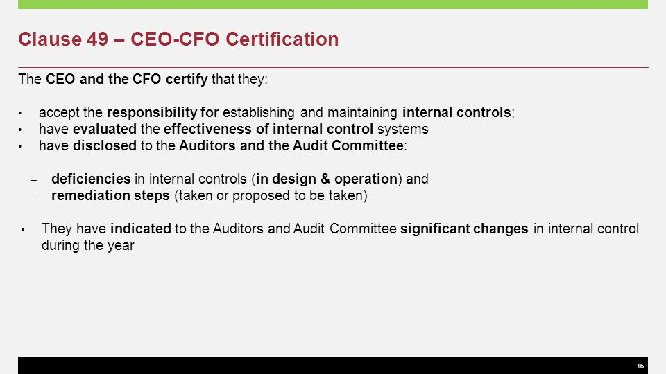 Clause 49 – CEO-CFO Certification