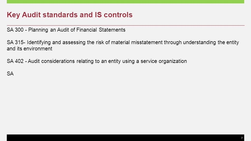Key Audit standards and IS controls