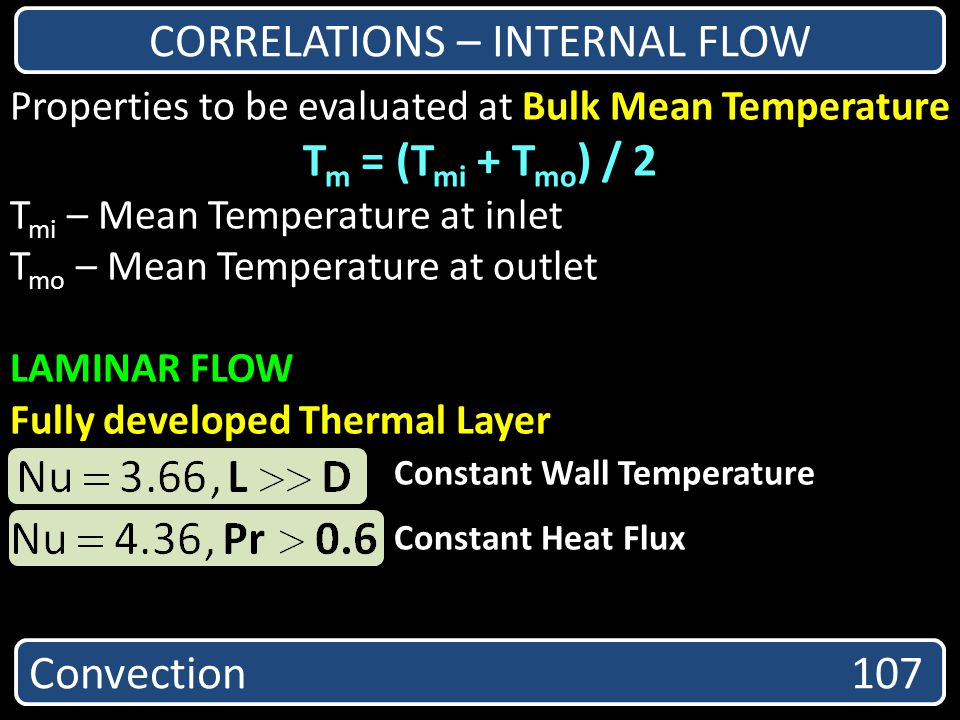 CORRELATIONS – INTERNAL FLOW