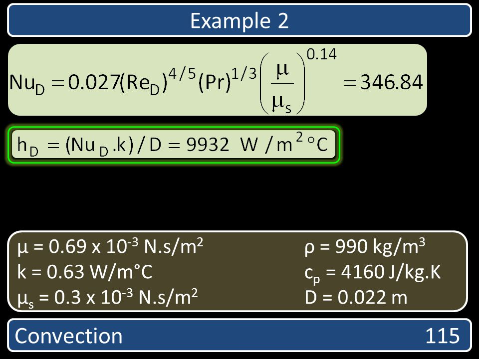 Example 2 Convection 115 µ = 0.69 x 10-3 N.s/m2 ρ = 990 kg/m3