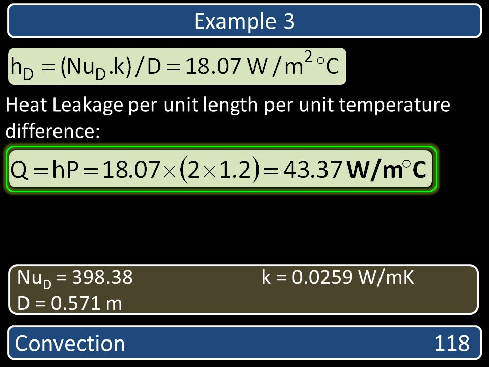 Example 3 Heat Leakage per unit length per unit temperature difference: NuD = 398.38 k = 0.0259 W/mK.