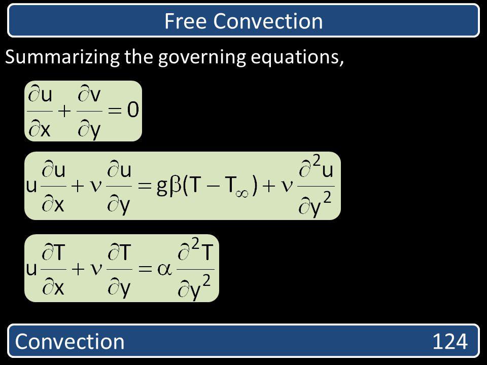 Free Convection Convection 124 Summarizing the governing equations,