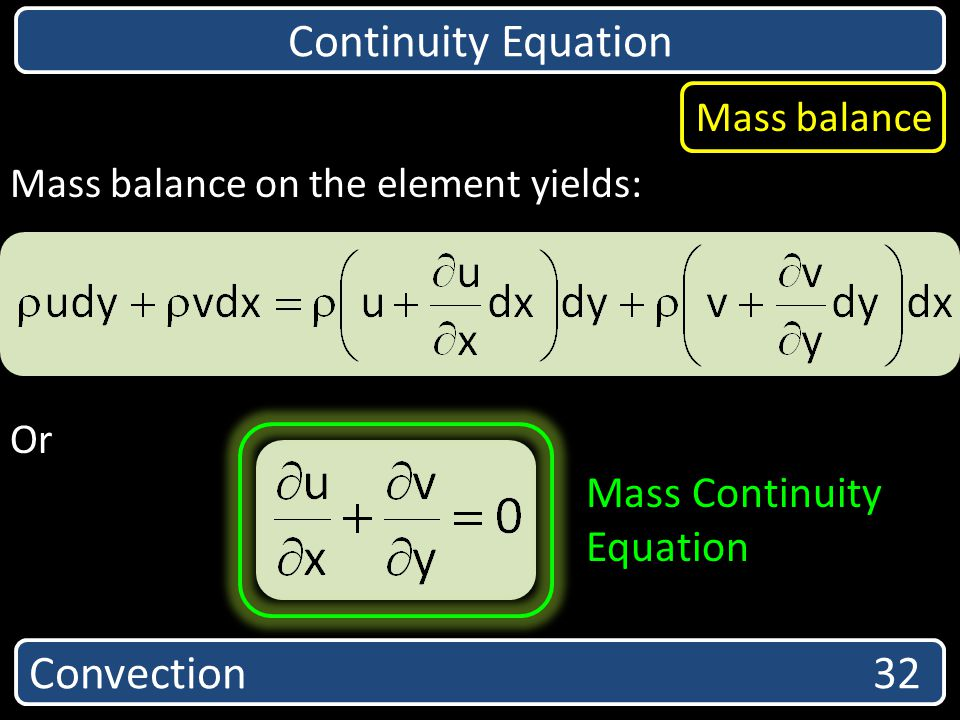 Continuity Equation Convection 32 Equation Mass balance