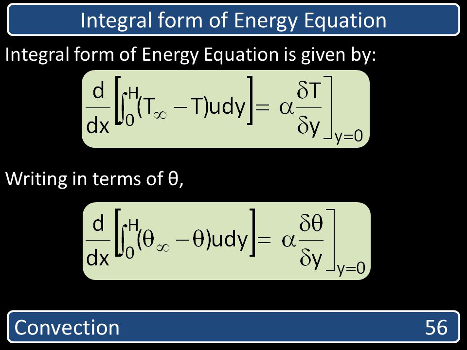 Integral form of Energy Equation